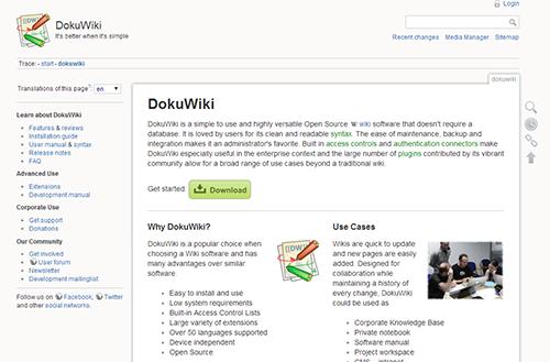 Screenshot der Arbeitsoberfläche eines Doku-Wiki an der TU Berlin