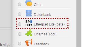 Screenshot des Hauptmenüs eines Etherpad: Zusammen an Texten schreiben in ISIS2.