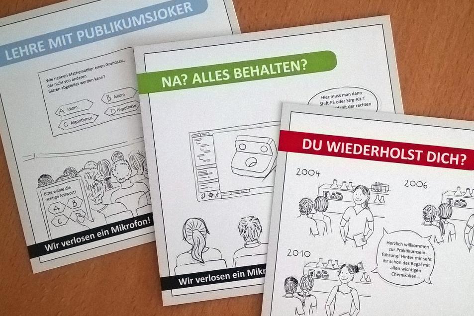 Neue Postkartenaktion: Fotografie der drei Flyer zur Aktion