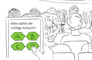 Illustration einer Abstimmung zur Interaktion in großen Veranstaltungen anhand von Abstimmungssystemen.