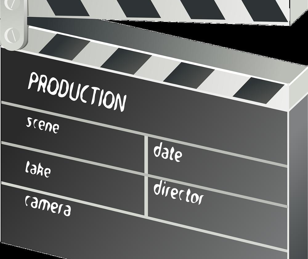 Grafik einer Filmklappe: unser neues Aufnahmestudio ist eröffnet.