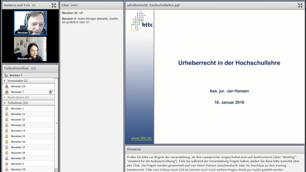 Screenshot zum Vortrag über Urheberrecht und Hochschullehre