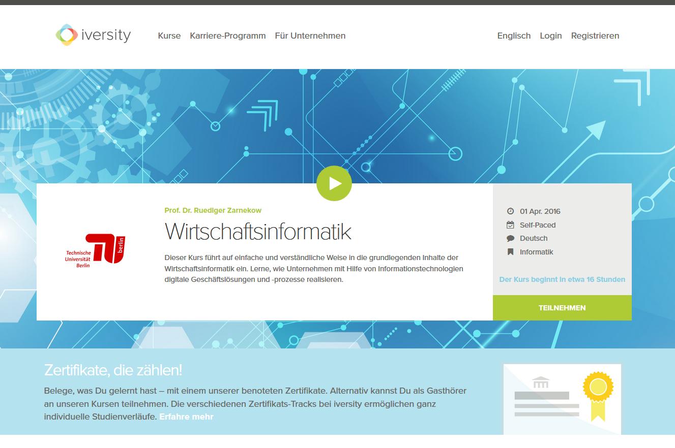 Screenshot der Startseite des MOOC Wirtschaftsinformatik