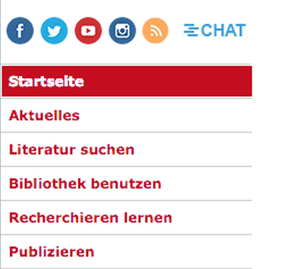 Screenshot der Website der Universitätsbibliothek mit Link zur Chatsprechstunde