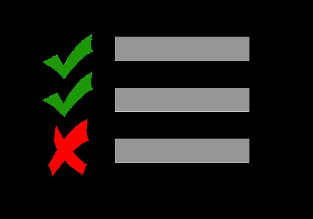 Online-Klausuren: Illustration beantworteter Fragen mit Korrekturhaken.