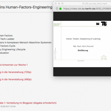 E-Learning Angebot Human Factors Engineering. Ein Screenshot aus dem ISIS-Portal mit geöffnetem Video-Screencast