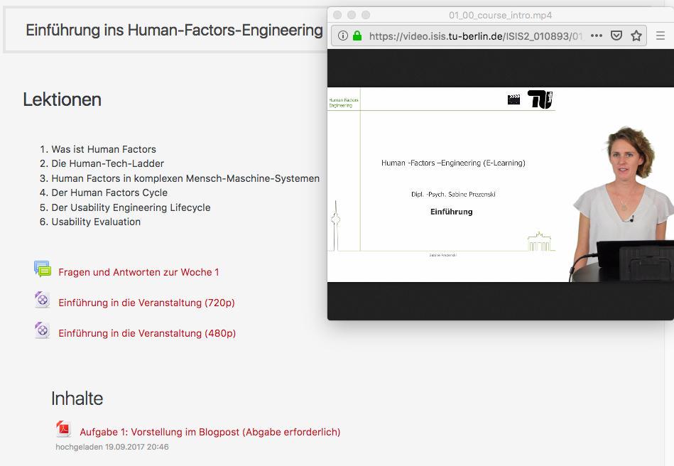 E-Learning Angebot Human Factors Engineering. Ein Screenshot aus dem ISIS-Portal mit geöffnetem Video-Screencast